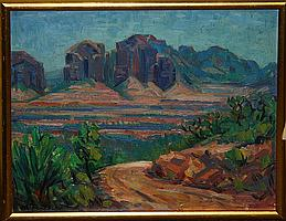 "1950 Anton Dahl ""Montezuma Castles"" Arizona landscape (1894-1967) 16"" x 20"""