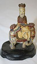 Carved ivory snuff bottle- man on elephant,