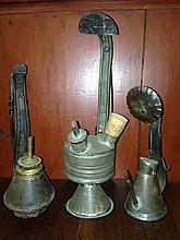 3 early tin footed lamps