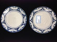 Two Dedham pottery owl decorated plates, 8.5