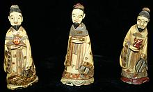 3 carved ivory snuff bottles- bearded men, ht.