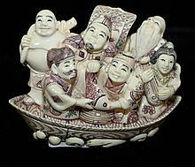 Signed Japanese carved ivory Netsuke- six figures