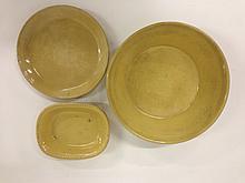 Signed Sharpes yellowware molded edge dish w/