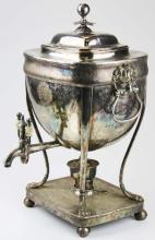 19th c. Sheffield plated neoclassical tea urn