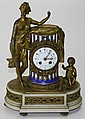 Tiffany + Co. gilt brass, onyx, + Paris Porcelain enamel face garniture clock ht. 14
