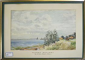 "Arthur Baylis Allen (English 1889-)- Thames Estuary wc 14x 20"""