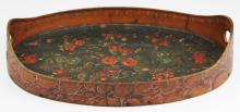 folky early 20th c painted bentwood tray