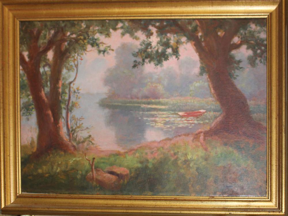 Custer Ingham (VT 1863-1931) Skiff on the Otter Creek