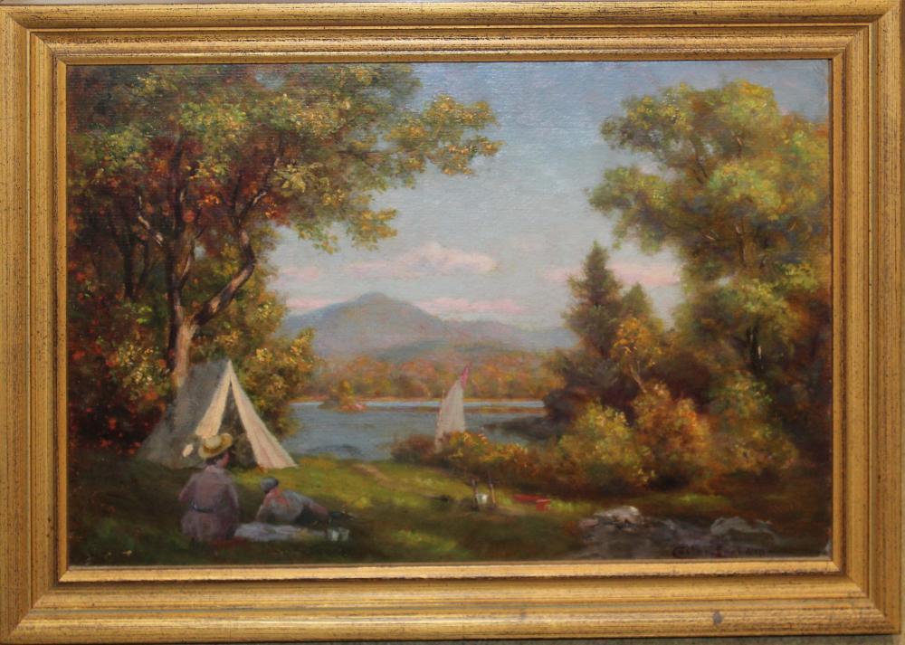 Custer Ingham (VT 1863-1931) Campers on Lake Champlain