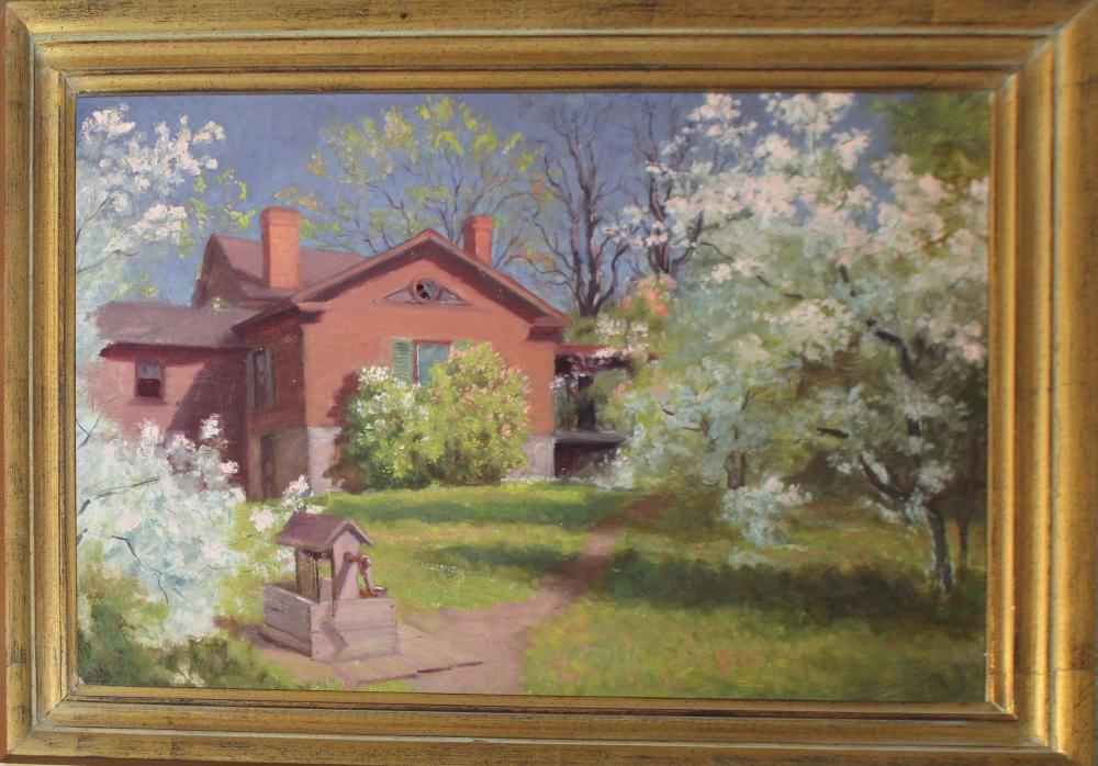 Custer Ingham (VT 1863-1931) Cottage with a well