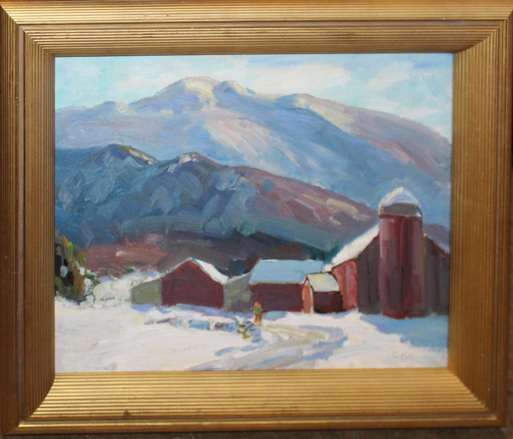Thomas R Curtin (VT 1899-1977) Winter Landscape with Barn