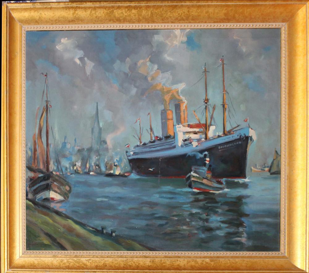 Circa 1920 German Industrial Scene Hamburg Harbor
