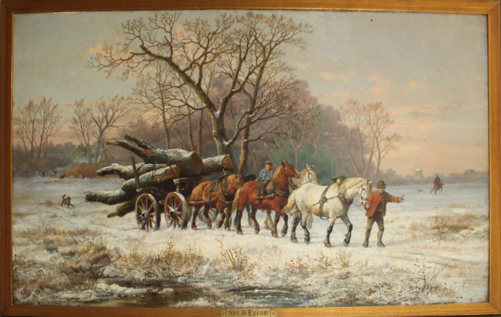 Alexis de Leeuw (BE 1828-1898) Log Team in Winter