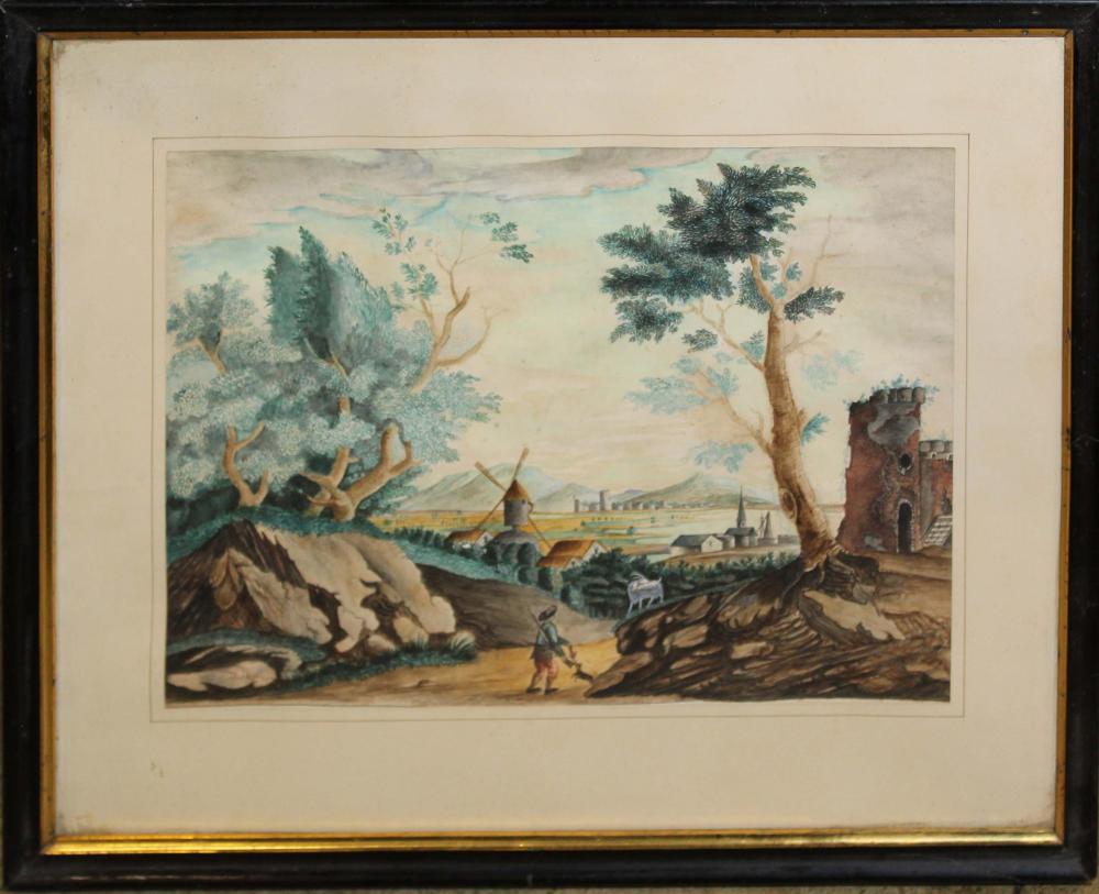 18th c French School Watercolor landscape