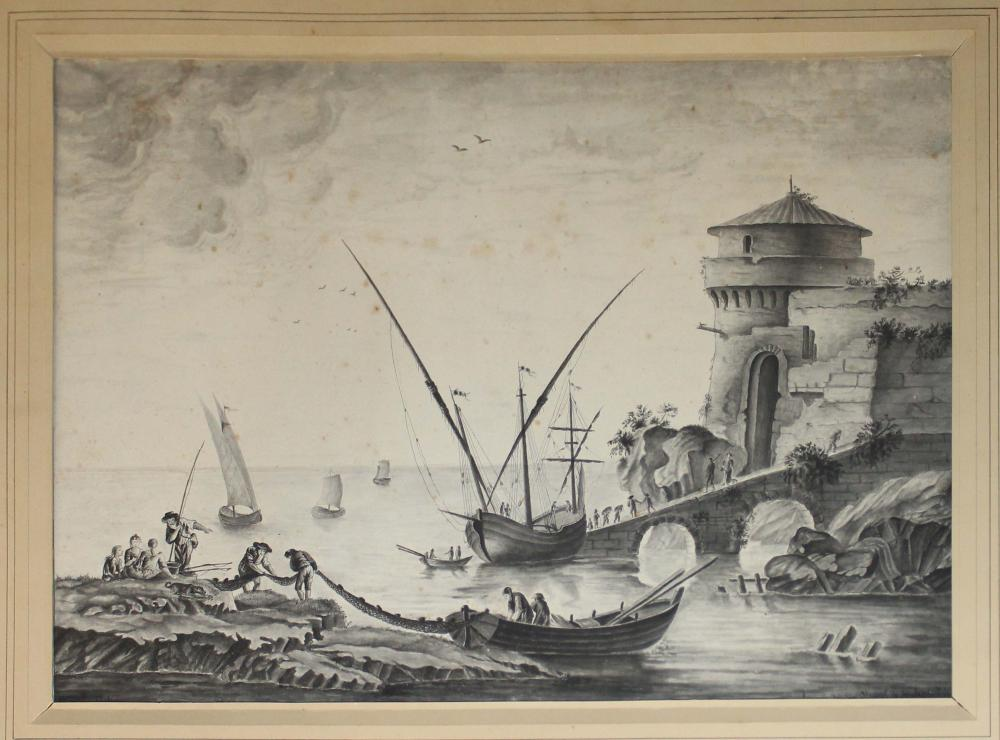 1816 French School Watercolor of Fisherman