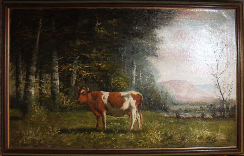 19th c New England School oil on canvas pastoral