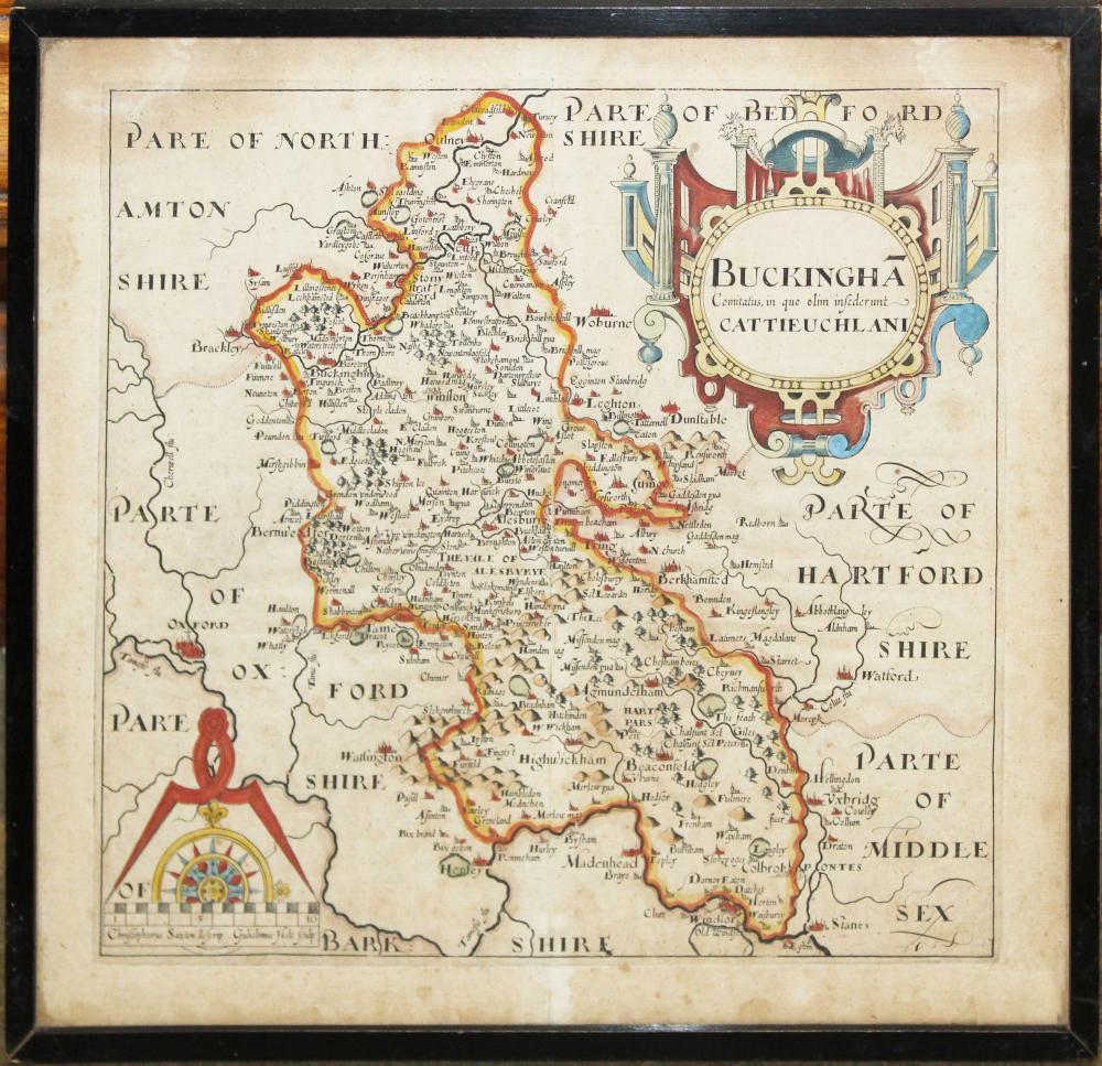 ca 1610 Wm Hale map of Buckinghamshire