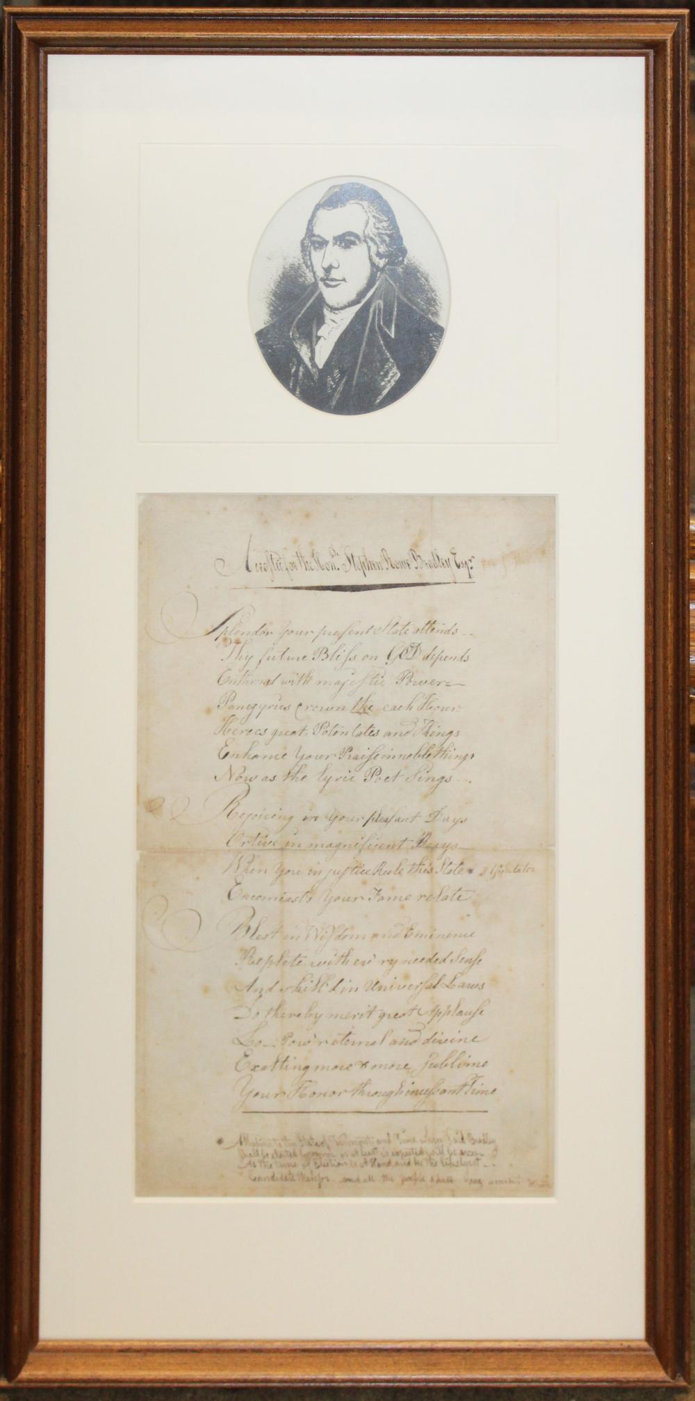 1789 acrostic written for Stephen Rowe Bradley