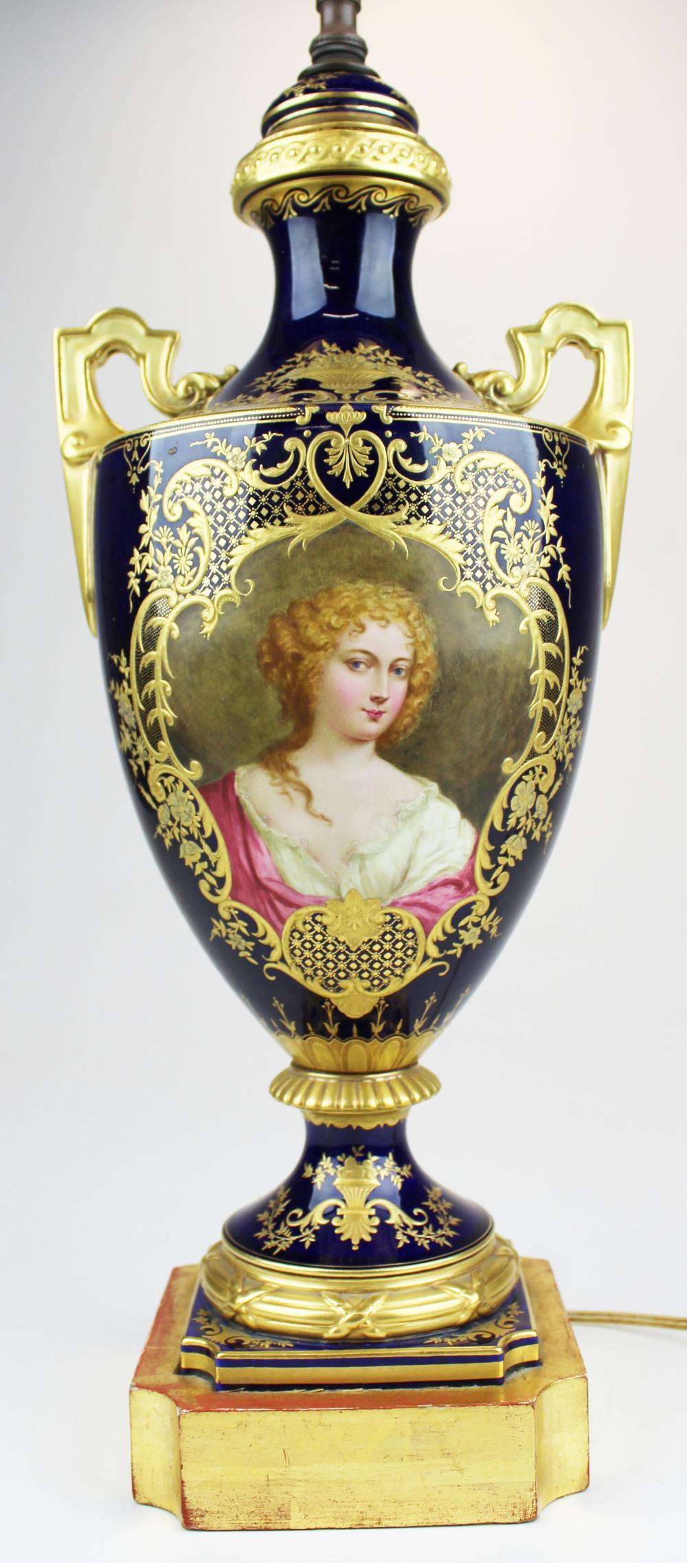 19th c French Sevres portrait panel lamp