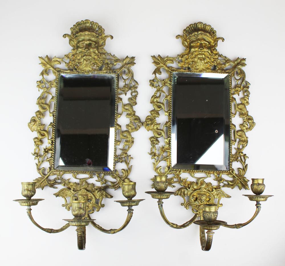 ca 1890 pr of large gilt brass candle sconces
