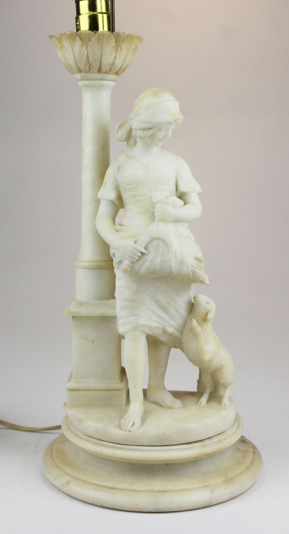 20th c white marble figural sculpture table lamp