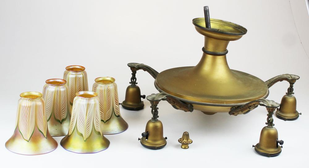 brass chandelier with five Quezal shades