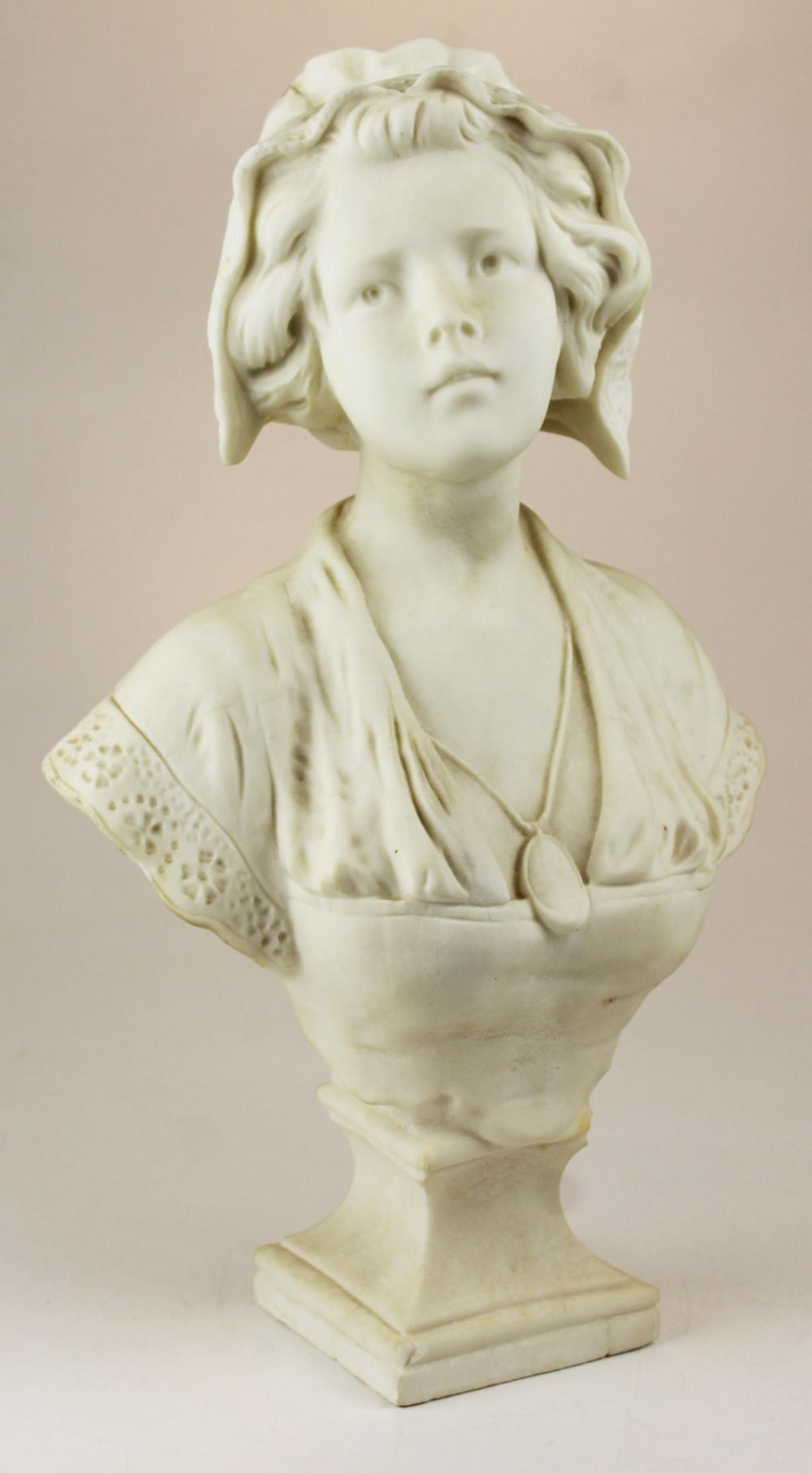 ca 1900 marble bust signed with monogram