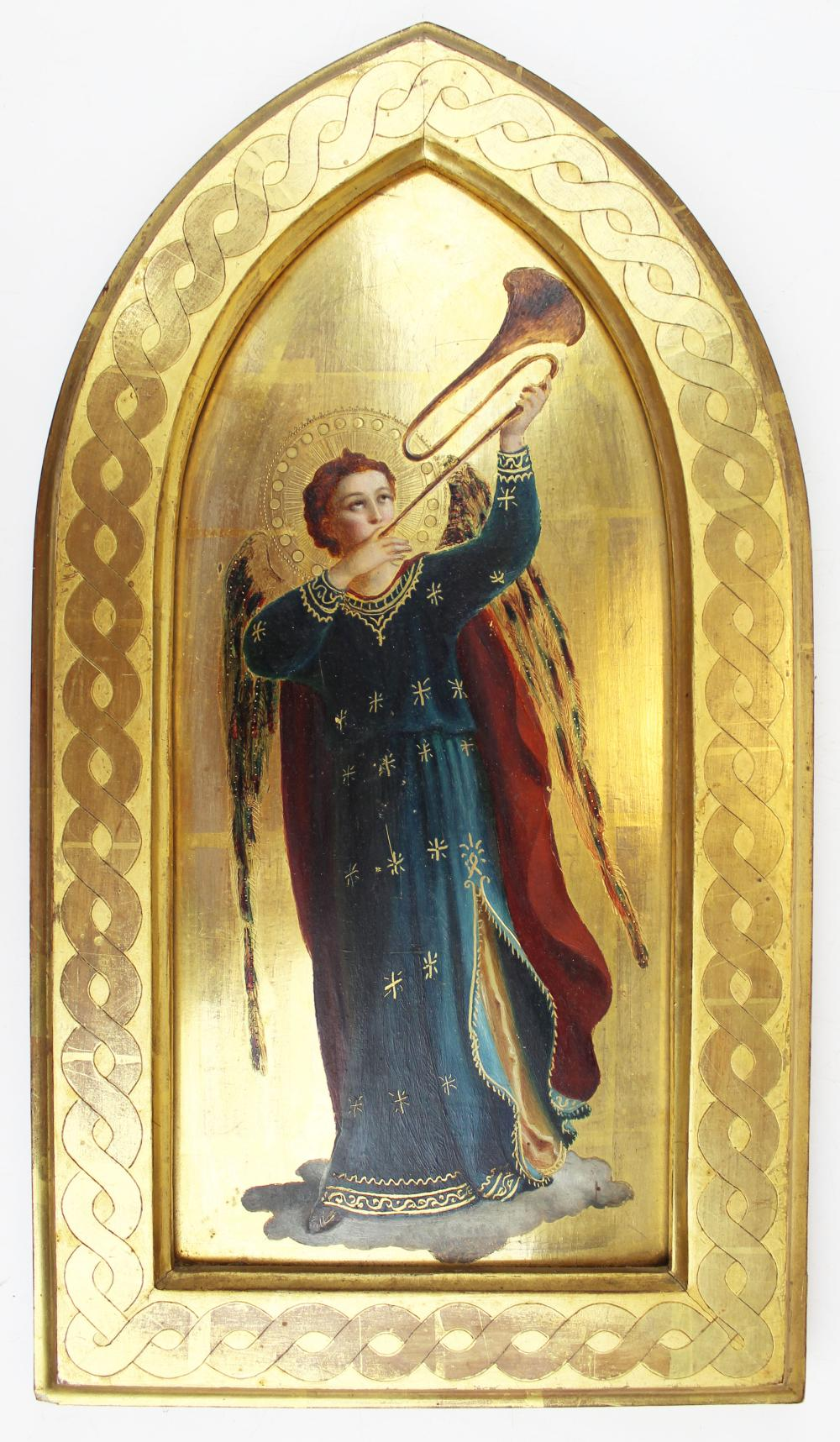 Italian gilt painted plaque with angel