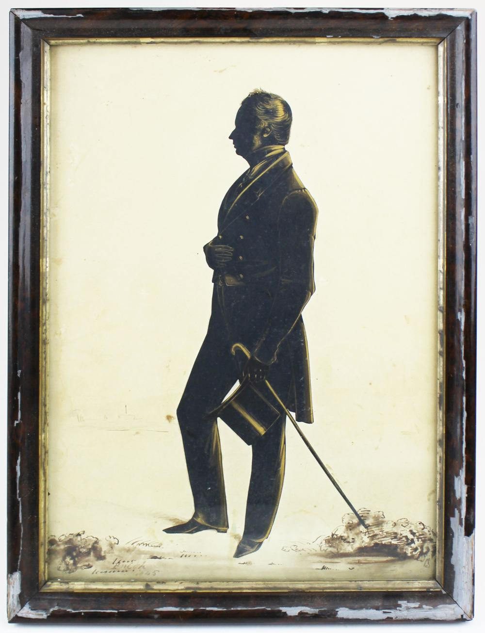 1845 English watercolor silhouette signed Frith