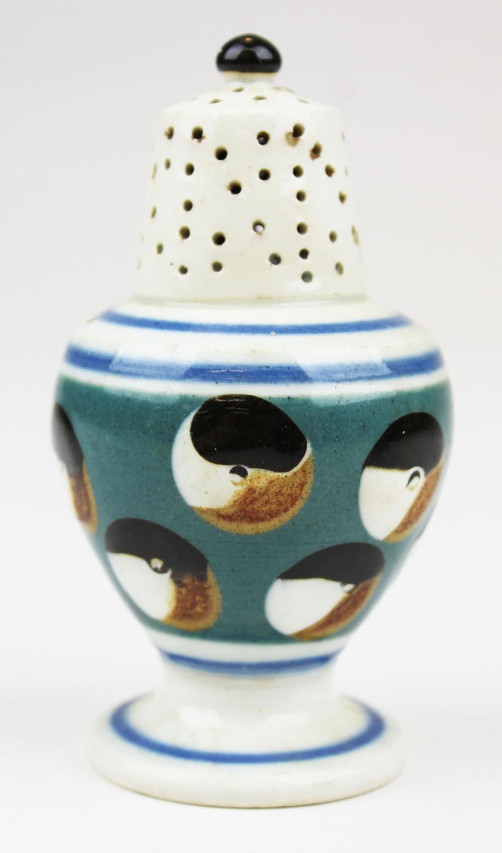 English mocha pepper pot w/ cat's eye decoration
