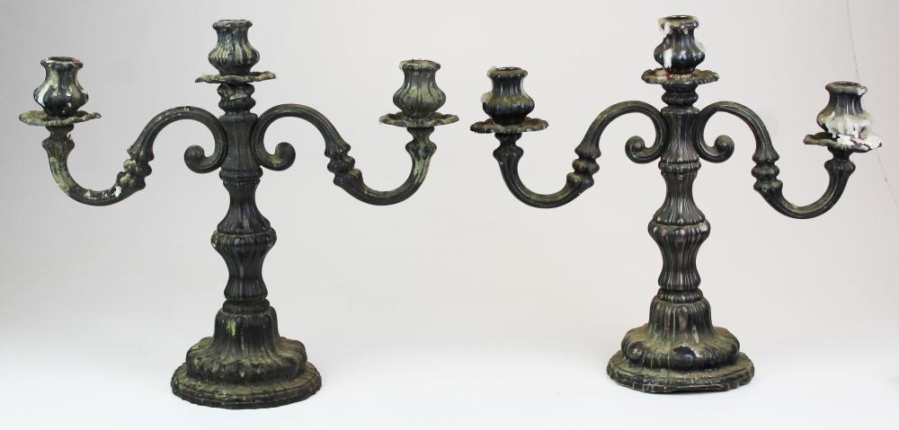 pair of 19th c. 800 silver weighted candelabra