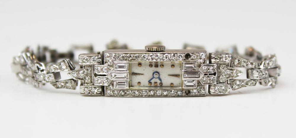 Pery platinum and diamond ladies wrist watch