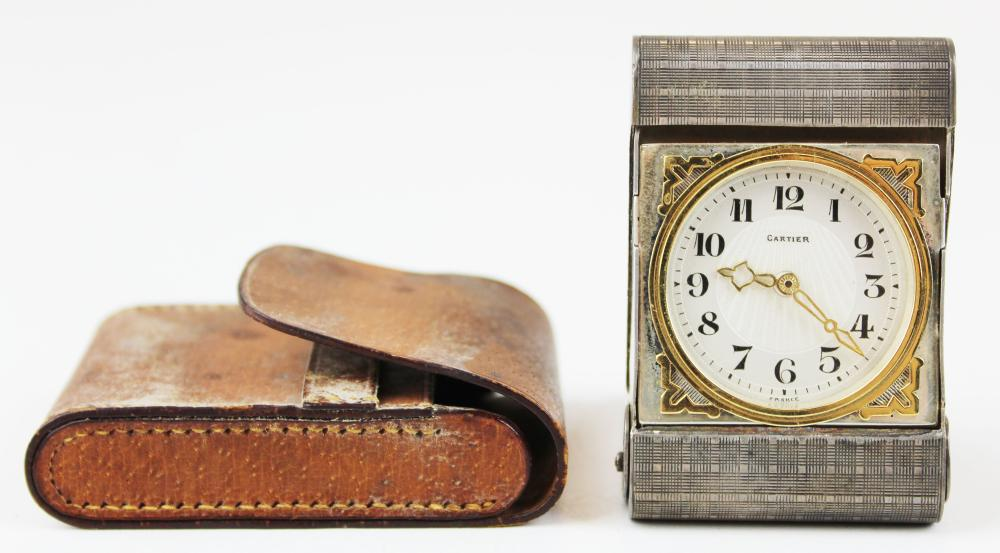 Cartier silver and and gold travel clock