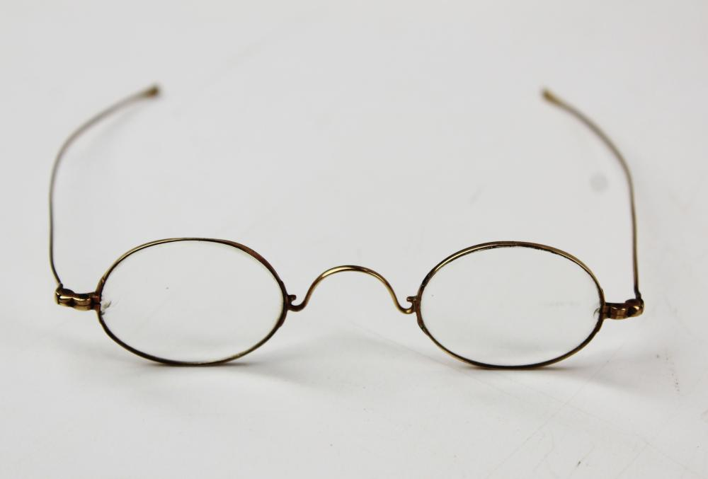 Pair of early 19th c 14k yellow gold eye glasses