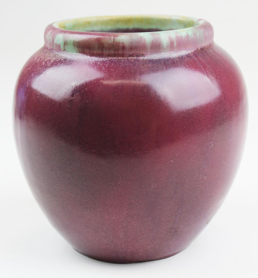 Fulper mottled pink art pottery vase