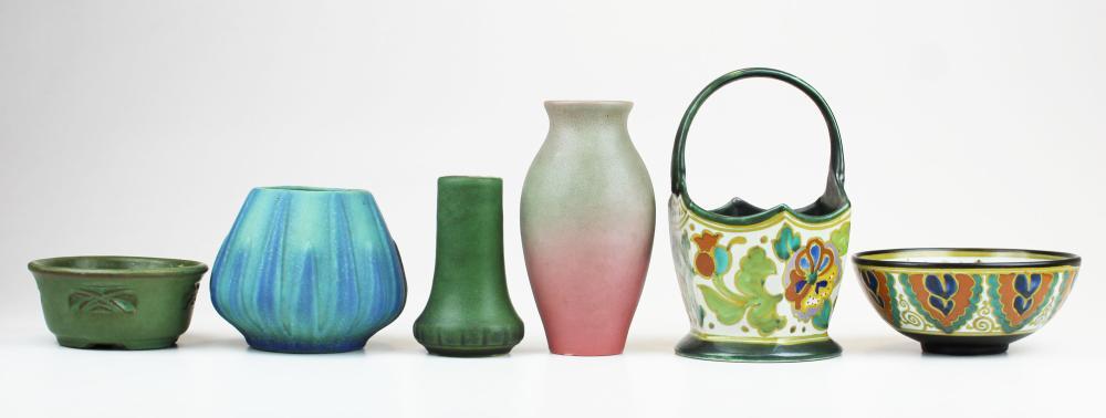 6 pcs. of art pottery incl. Rookwood, Van Briggle