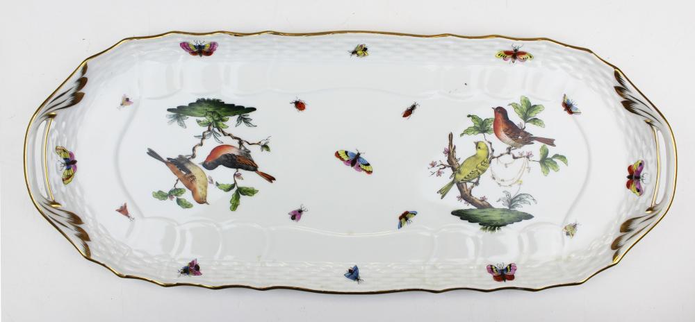 Herend Rothschild bird double handle tray