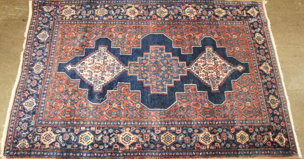 Persian Shiraz three medallion area rug