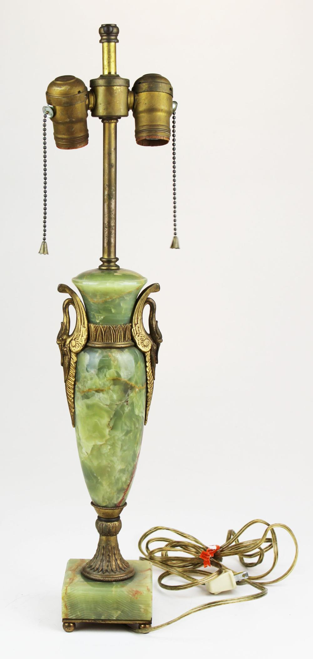French onyx & gilt brass table lamp