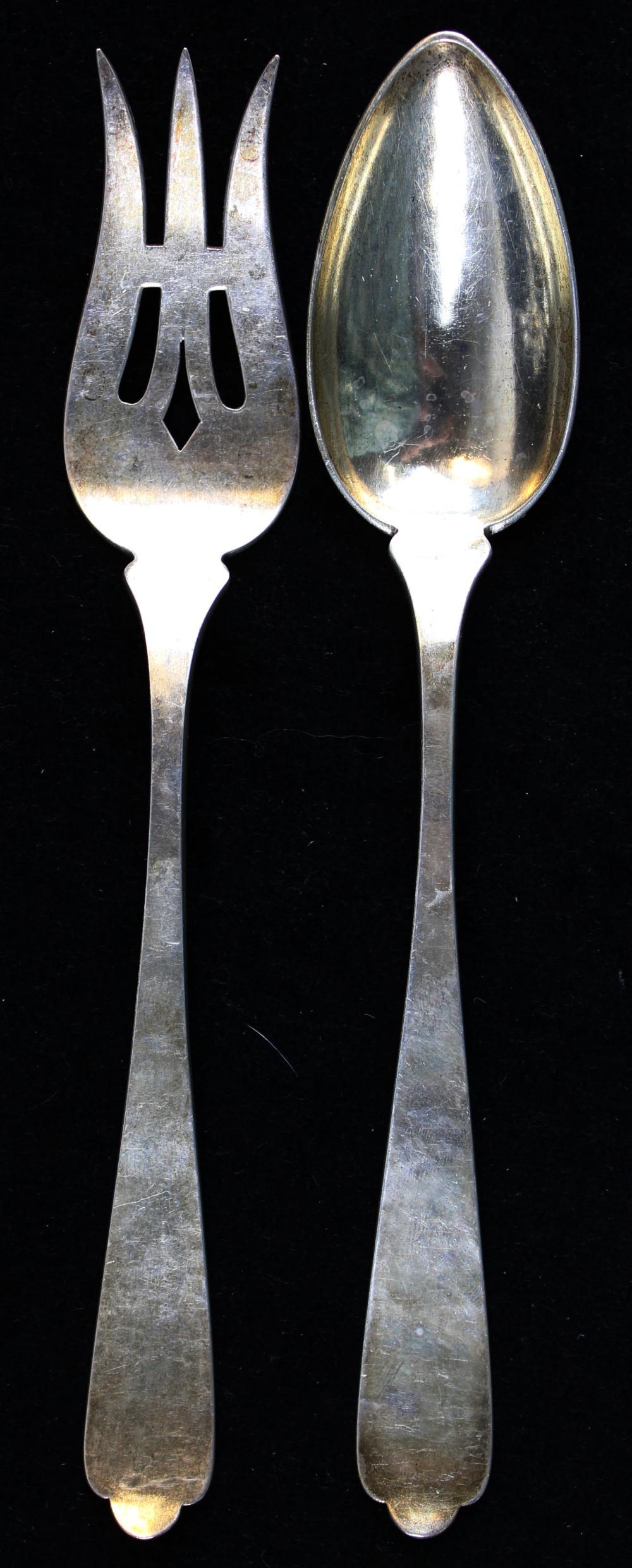Kalo Arts and Crafts sterling silver salad set