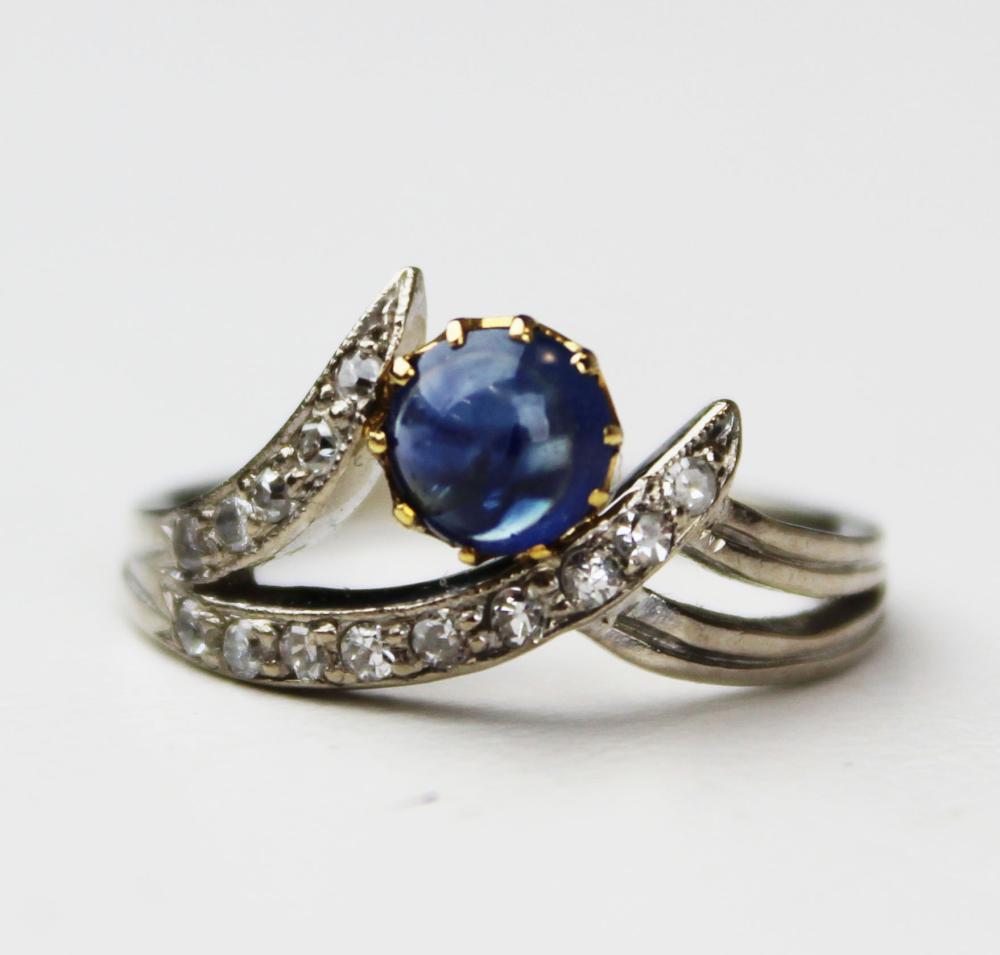 Ca. 1950 Cabochon sapphire and diamond ring