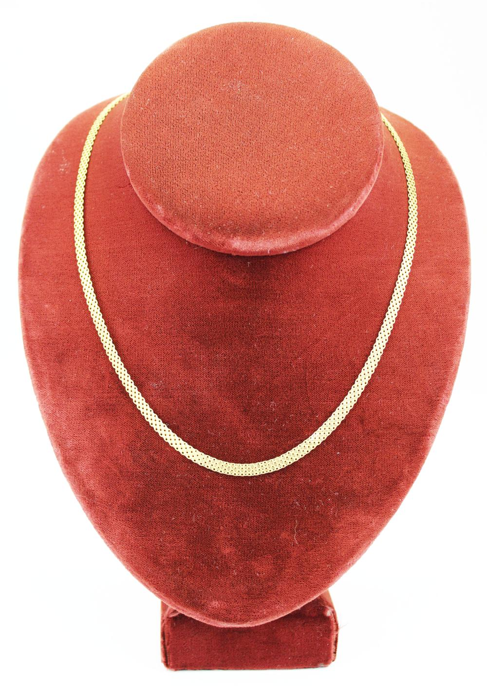 14 k yellow gold Italian woven necklace