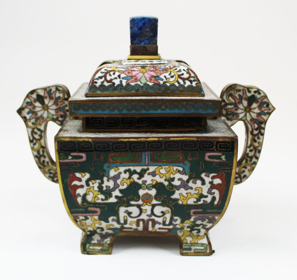 cloisonne incense burner with Satsuma mon