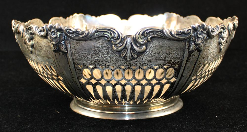 Roger Williams sterling silver reticulated bowl