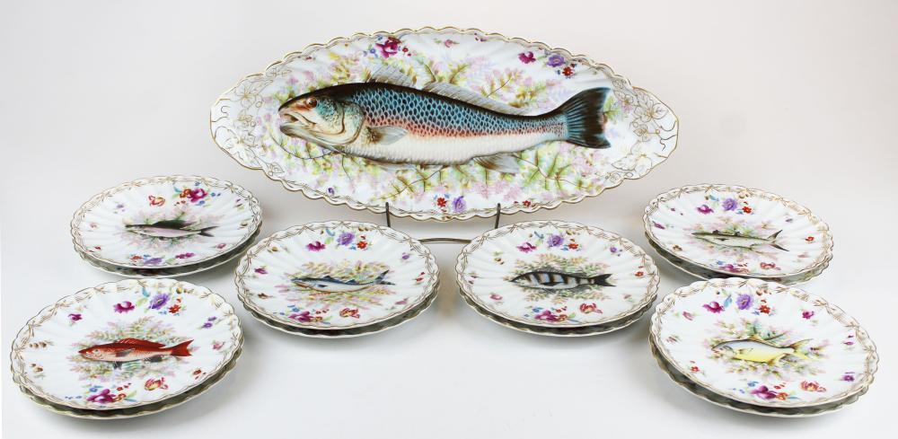 Carlsbad porcelain fish platter and 12 plates