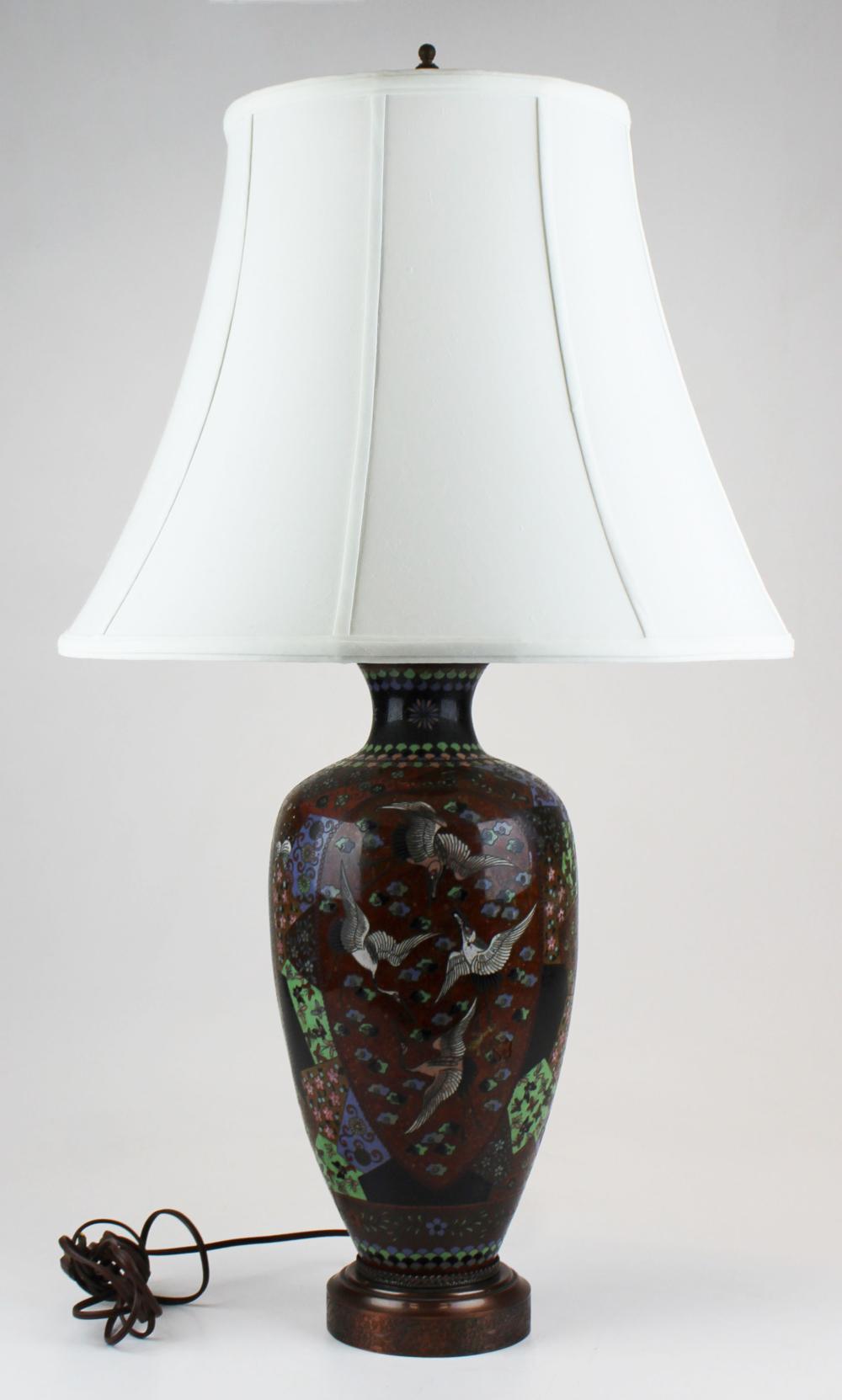 large 20th c cloisonne vase table lamp
