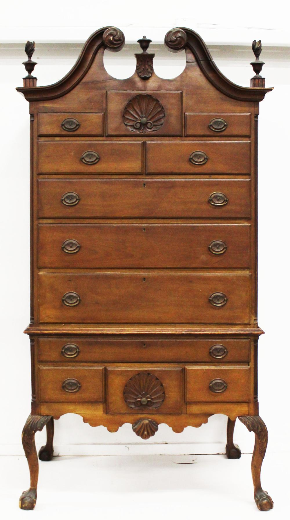 early 20th c Chippendale shell carved highboy
