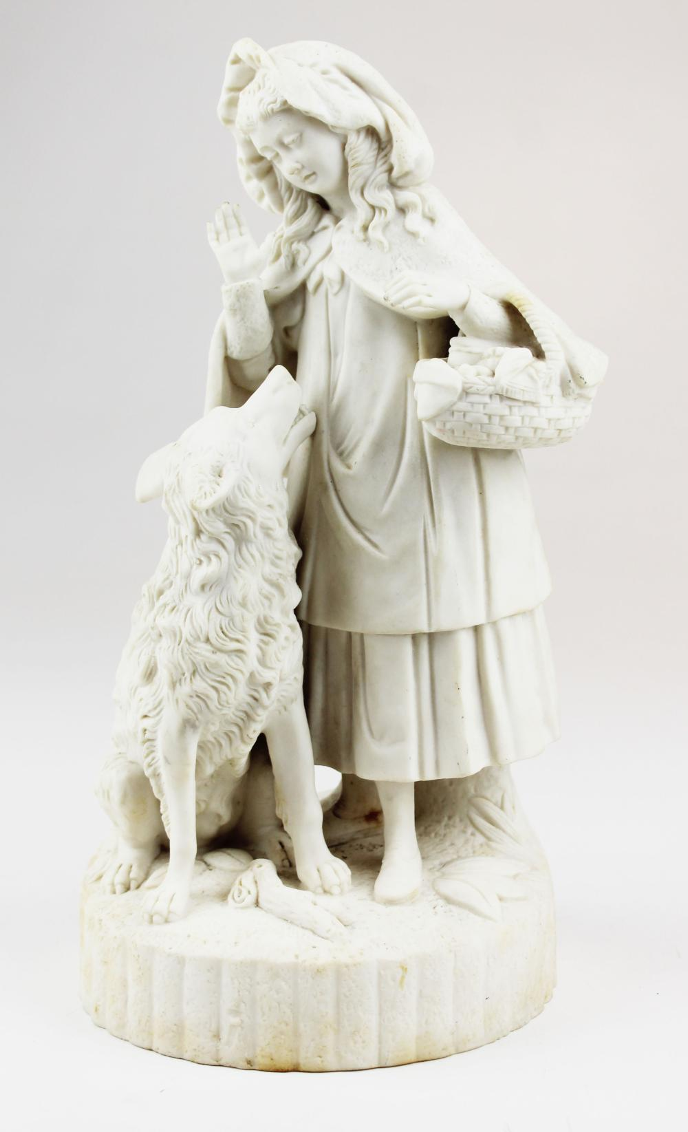 19th c. Parian figurine of little red riding hood