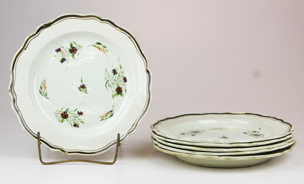 6 English 18th c. Pearlware floral plates