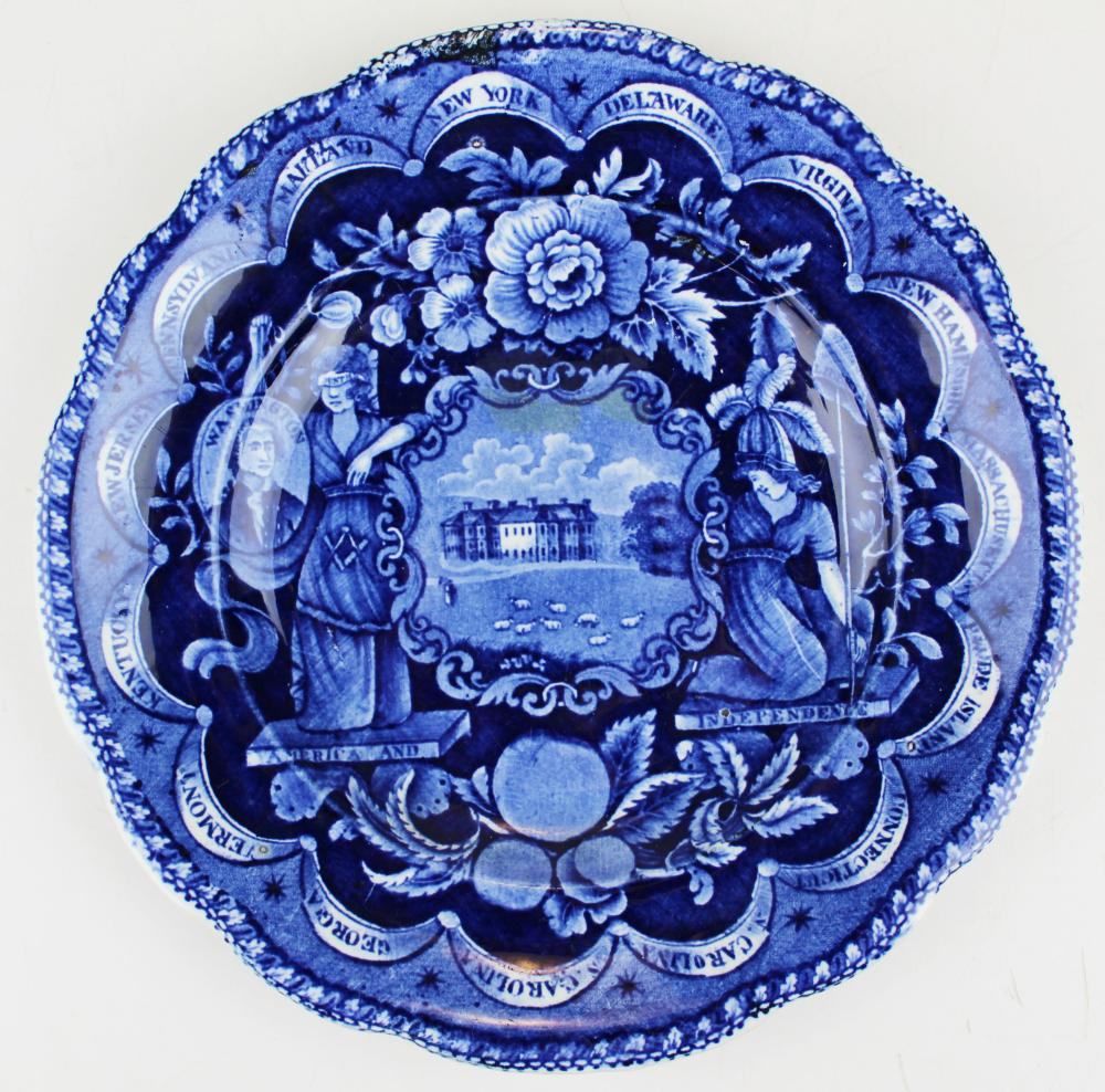 Blue Staffordshire  American Independence plate